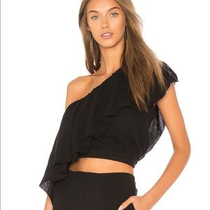 FAITHFULL THE BRAND one shoulder Black Top XS
